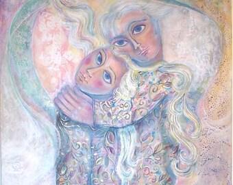 Large Original Acrylic Painting On Canvas. Embracing Couple. Naive Painting. Fine Arts. Plastic Arts. Israeli Art. Pink, Blue Colorful. OOAK