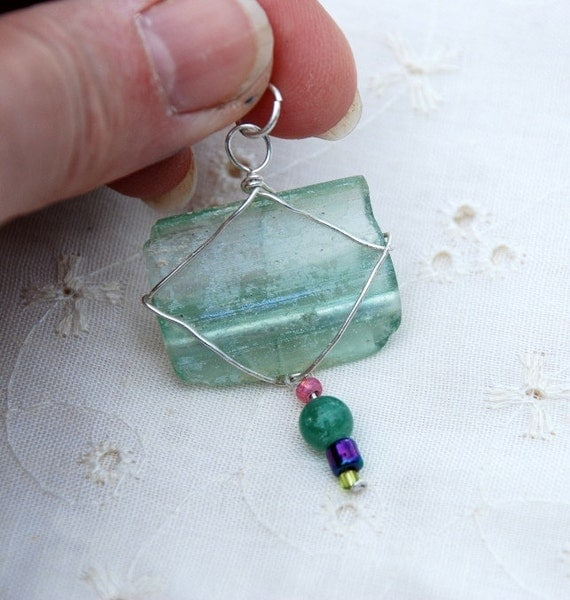 Ancient Roman Glass Pendant. Aquamarine and Silver. Wrapped In Pure Silver Wire. Ancient Glass Pendant.