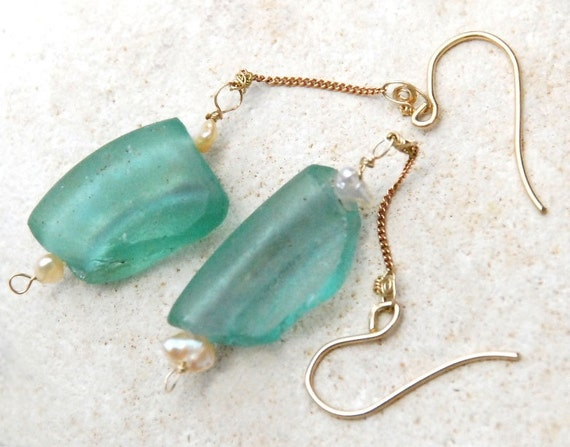 Ancient Roman Glass Earrings. Gold Filled  Earrings. Chain Earrings. Aqua Earrings. Pearls. Roman Glass Jewelry. Gold Filled Jewelry.