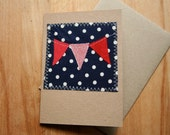 Red white and blue eco-friendly bunting card