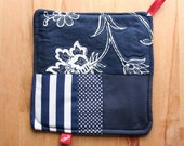 Eco-friendly pot holder extra large navy white and red upcycled fabric