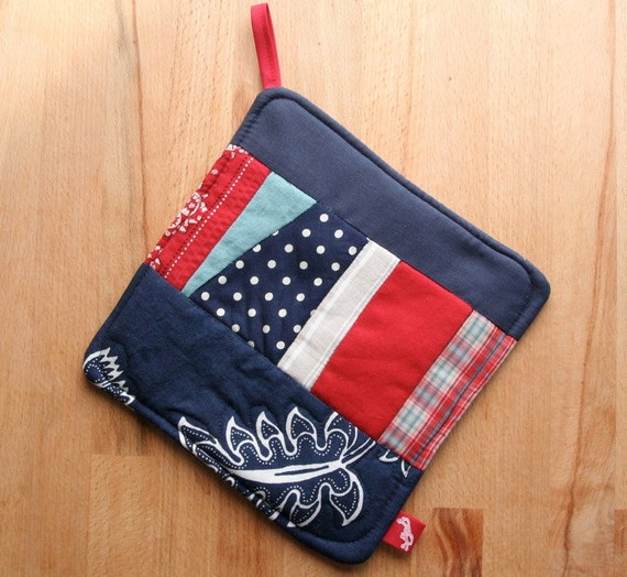 Upcycled pot holder in red white and blue eco friendly fabrics