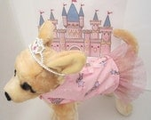 Small Dog Harness Dress - Puppy Princess in Shimmering Pink Wand & Tiara Print, Satin Laced Bows and Pink Sparkle Tulle Skirt