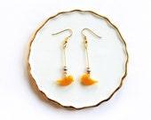 """Earrings """" Birds, yellow """""""