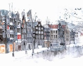 Amsterdam Canal  - an architectural watercolour print (2 sold) - simoneridyard