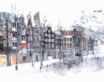 Amsterdam Canal  - an architectural watercolour print (2 sold)