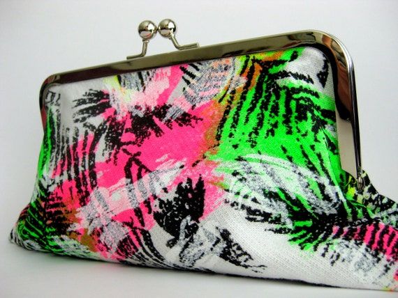 80s Baby- Framed Clutch Purse, neon clutch, purse, party,trendy, gifts under 30, funky, retro, pink, green, black, fleece