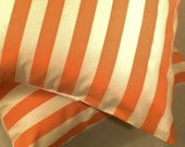 Pillow Pair . Peachy Stripes . 2 Pillow Cover Set .  18 inch . Free Shipping