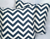 Custom for tk14  . Chevron in Ocean Blue . 2 Pillow Cover Set . 18 inch . Free Shipping
