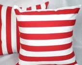 Pillow Pair . Red Stripe . 2 Pillow Cover Set .  18 inch . Free Shipping