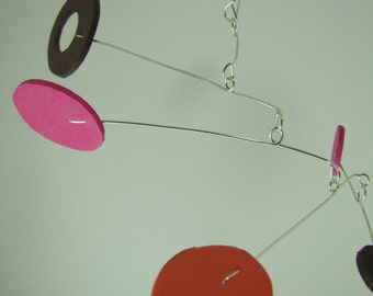 Modern Hanging Mobile - Pink, Orange, Brown