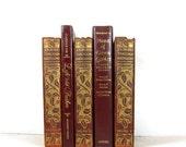 Burgundy Gold Brown Decorative Books, Vintage Photo Props, Vintage Wedding Decor
