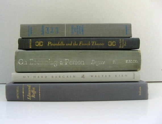Vintage Instant Book Collection Gray, Grey  Books for Decoration and Photgraphy Props