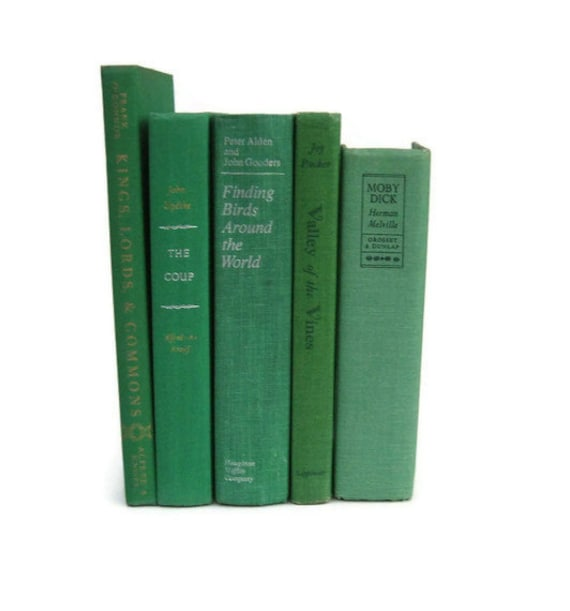Green Collection Vintage Books by Color Instant Collection of Decorative Books for Wedding Decor, Home Decor, and Photography Prop