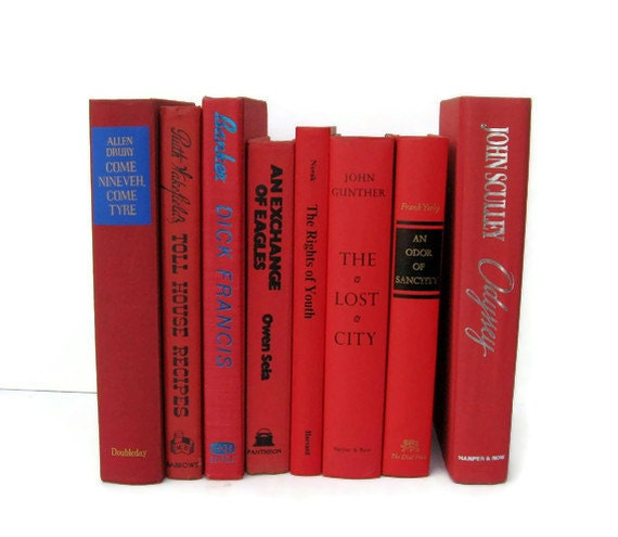 Red Vintage Books Instant Collection of Decorative Books for Wedding Decor, Home Decor, and Photography Prop
