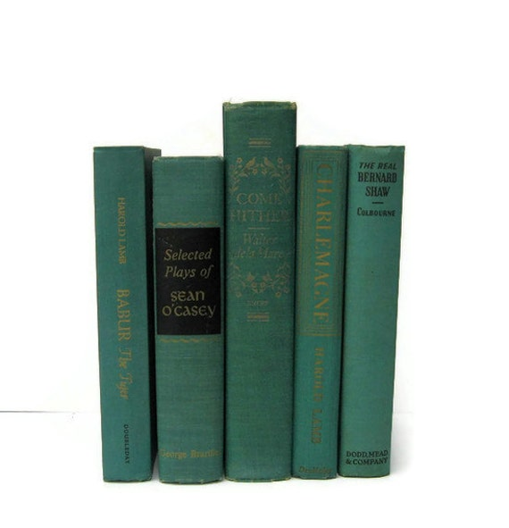 Teal Turquoise Decorative Vintage Books by Color Instant Collection of Books for Wedding Decor, Home Decor, and Photography Prop