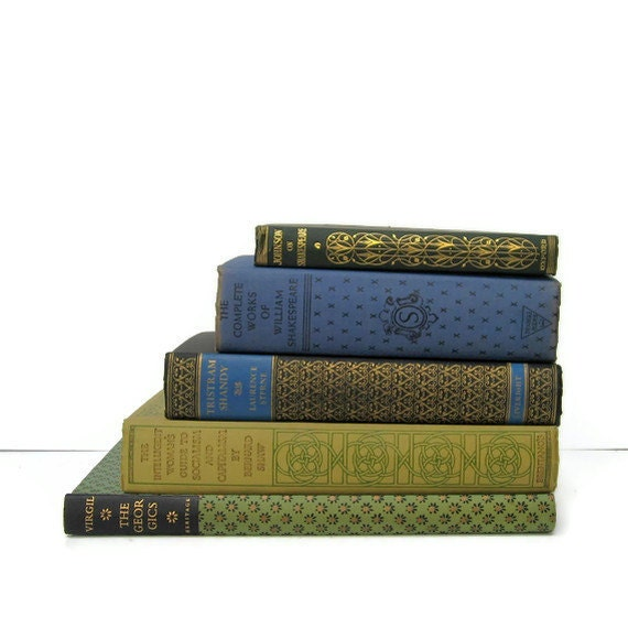 Green Black Blue with  Decorative Spine Vintage Books by Color Instant Collection of Books for Wedding Decor, Home Decor, and Photography Pr