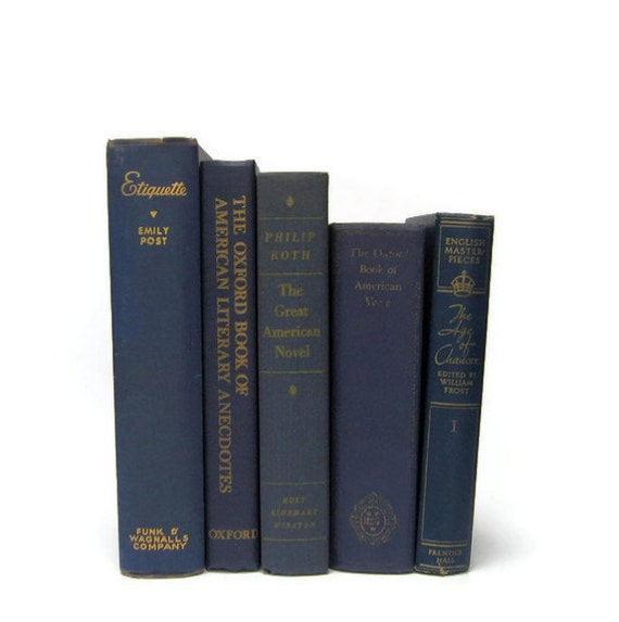 Navy Blue Vintage Book Collection of Decorative Books for Wedding Decor, Home Decor, and Photography Prop