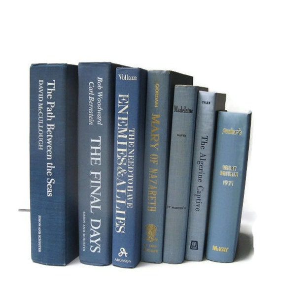Vintage Books Blue for Decor Wedding Table Settings Photography Prop