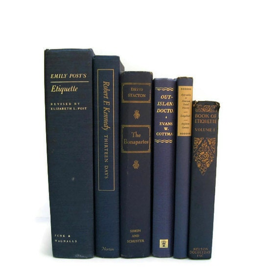 Vintage Books Blue Decorative Books for Wedding Decor and Photography Prop