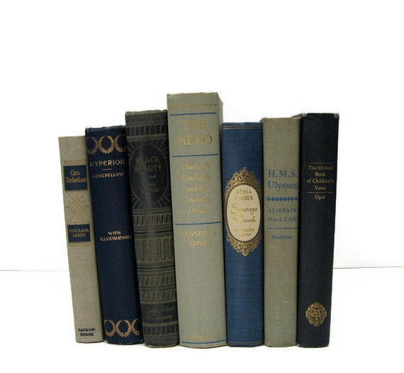 Blue Tan Taupe Decorative Books, Vintage Photo Props, Vintage Wedding Decor