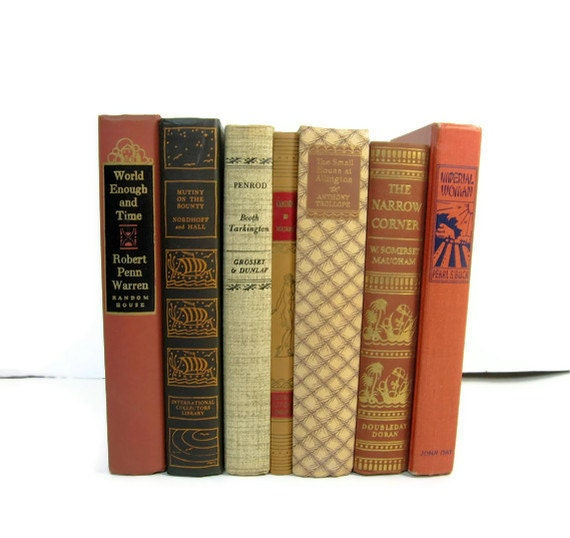 Brown  Tan Decorative Books, Vintage Photo Props, Vintage Wedding Decor