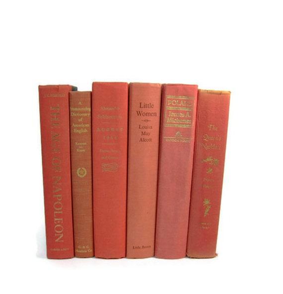 Peach Salmon  Decorative Books ,  Vintage Wedding Decor ,  Vintage  Photography Prop