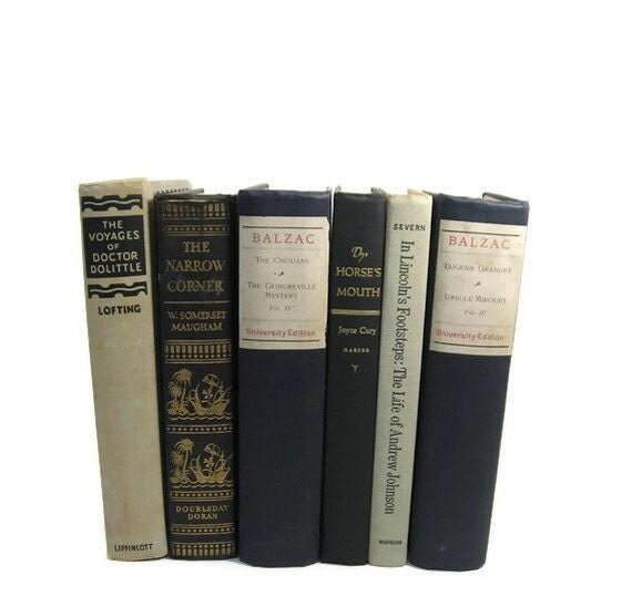 Black Beige  Decorative Books, Vintage Photo Props, Vintage Wedding Decor