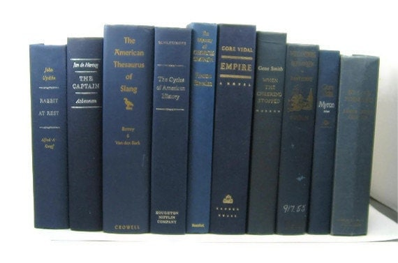 Blue  Vintage Decorative Books for Wedding Decor Table Setting Interior Design or  Photography Prop