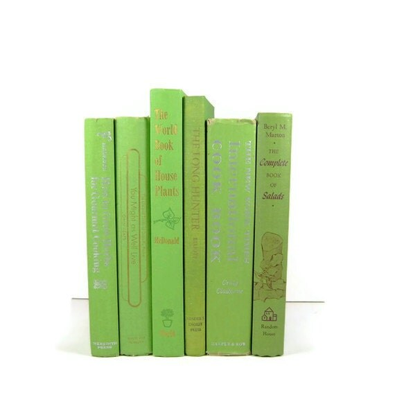 Vintage Green Decorative Books , Photo Props , Vintage Wedding Decor , Wedding Table Setting