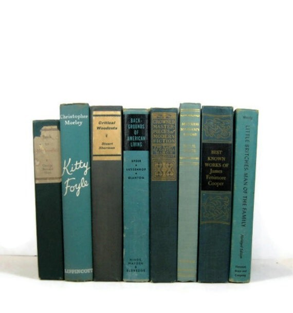 Teal Blue Collection Vintage Decorative Book