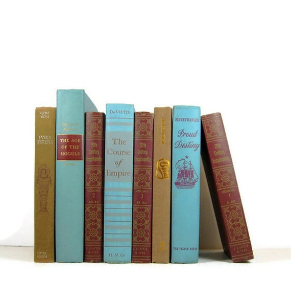 Turquoise Red Brown Vintage Decorative Books for Wedding Decor and Photo Prop