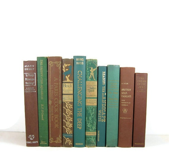 Vintage Books Brown Teal Wedding Decor  Home  and Photography Prop