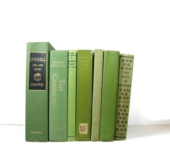 Vintage Green Decorative Books , Photo Props , Vintage Wedding Decor instant book collection