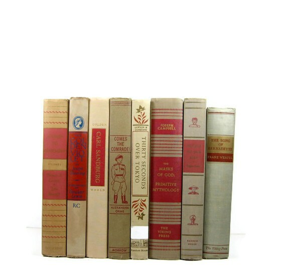 Vintage Books Grey Tan Taupe Red for Wedding Decor Photography Prop
