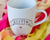 Hand Drawn Austin Heart Banner Mug