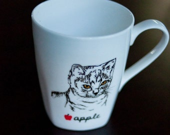 Custom Personalized Hand Drawn Kitty Cat Portrait Mug