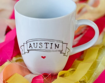 Hand Drawn Austin Heart Banner Mug