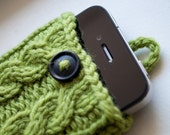 Peapod Green Double Cable Knit iPhone Case (3/4/4S Gen models)