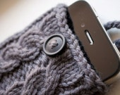 Stormy Gray Double Cable Knit iPhone Case (3/4/4S Gen models) - Last One In This Colour