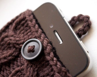 Toasty Brown Double Cable Knit Phone Case (iPhone 3/4/4S/5/5S/5C/6/6+; Samsung S3/S4/S5)