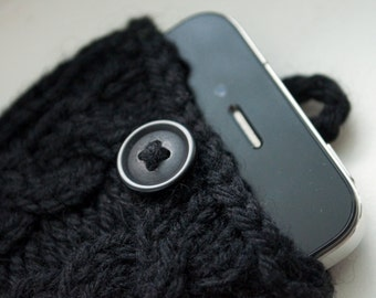 Coal Black Double Cable Knit Phone Case (iPhone 3/4/4S/5/5S/5C/6/6+/7/7+)
