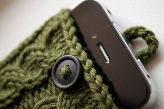 Moss Green Double Cable Knit Phone Case (iPhone 3/4/4S/5/5S/5C, Samsung S3/S4 models)