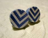 Chevron Earrings Blue and White Surgical Steel Posts LizabethDezigns
