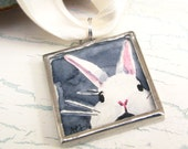 White Rabbit Hand Painted Pendant Wearable Art, Original Miniature Watercolor Painting Soldered Silver Pendant with Silver Plated Necklace