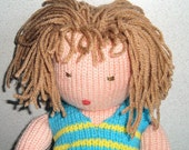 Hand Knit Doll removable clothing, 20 inches long