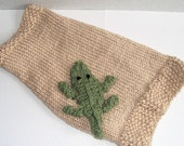 Hand Knit Dog Sweater with Alligator Applique