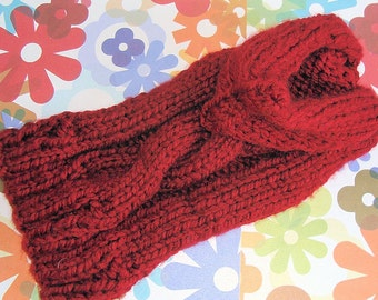 Hand Knit Dog Sweater with Hood Red Cable Knit Acrylic