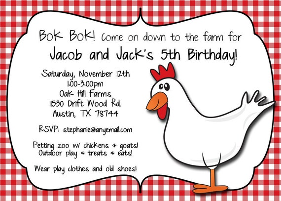Bok Bok Farmyard Friend Birthday Invitation - Printable or Printed (w/ FREE Envelopes)