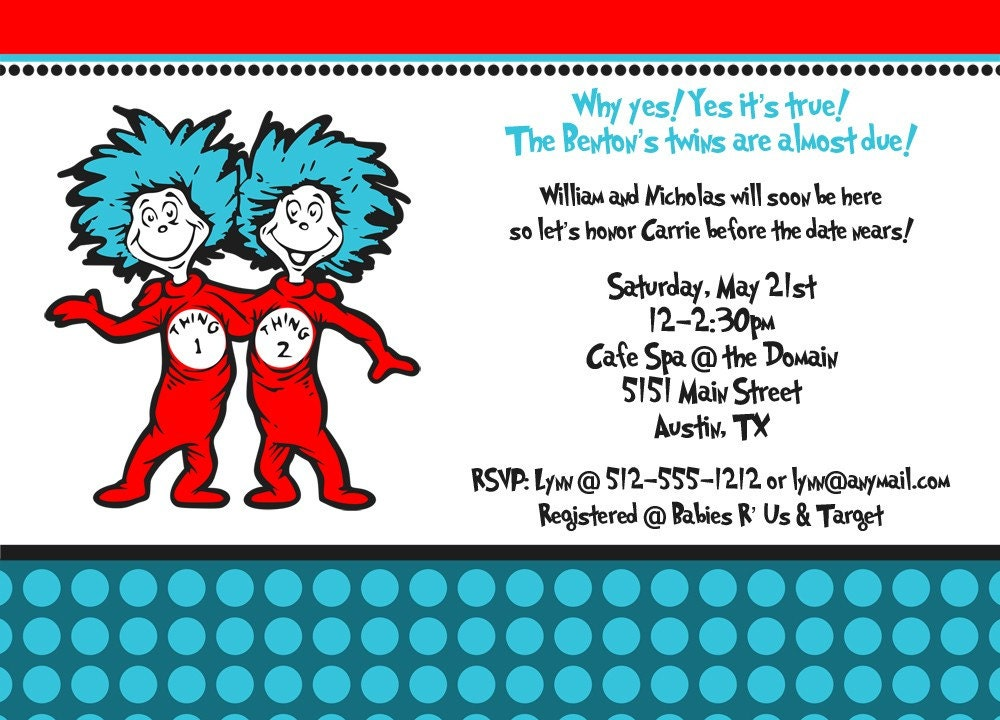 Custom Dr Seuss Baby Shower Invitations with luxury invitations sample